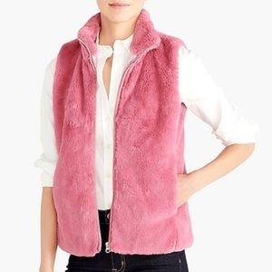 J. Crew Vest Faux Fur Guava Berry (Pink) 3X BNWT